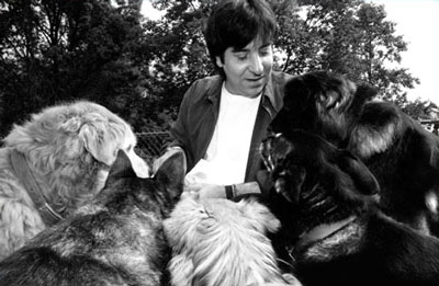 Gary Francione with five of his seven rescued pound puppies